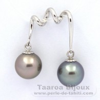 Rhodiated Sterling Silver Pendant and 2 Tahitian Pearls Round C 10 mm