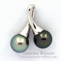 Rhodiated Sterling Silver Pendant and 2 Tahitian Pearls Round C 10 and 10.1 mm