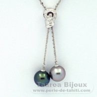 Rhodiated Sterling Silver Necklace and 2 Tahitian Pearls Round C+ 11.5 and 11.6 mm