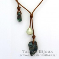 Leather Necklace, 1 Australian Pearl Baroque and 2 Opals
