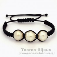 Nylon Bracelet and 3 Australian Pearls Ringed D from 13.4 to 13.5 mm