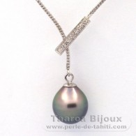 Rhodiated Sterling Silver Necklace and 1 Tahitian Pearl Semi-Baroque B 11.7 mm