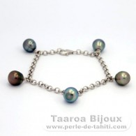 Rhodiated Sterling Silver Bracelet and 5 Tahitian Pearls Ringed C 8.7 mm