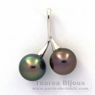 Rhodiated Sterling Silver Pendant and 2 Tahitian Pearls Round C 10.4 and 10.7 mm