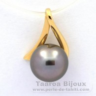 18K solid Gold Pendant and 1 Tahitian Pearl Round B 8.9 mm