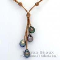Leather Necklace and 4 Tahitian Pearls Semi-Baroque B+ from 10.1 to 10.5 mm