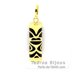 18K Gold Pendant and Black Agate - 17 mm - Luck