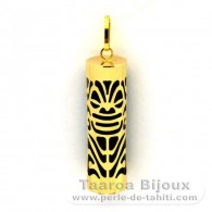 18K Gold Pendant and Black Agate - 30 mm - Longevity