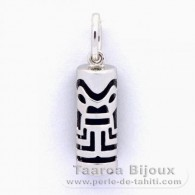 Silver and Black Agate Tiki - 15 mm - Abundance