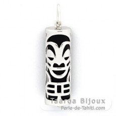 Silver and Black Agate Tiki - 30 mm - Health