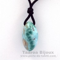 Waxed cotton Necklace and 1 Larimar - 24 x 12.9 x 15 mm - 6.85 gr