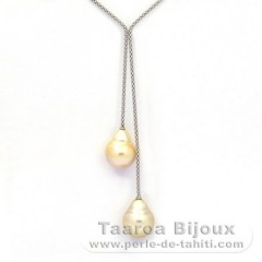 Rhodiated Sterling Silver Necklace and 2 Australian Pearls Semi-Baroque C 13.9 and 14.4 mm