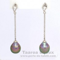 Rhodiated Sterling Silver Earrings and 2 Tahitian Pearls Ringed C 8.9 mm
