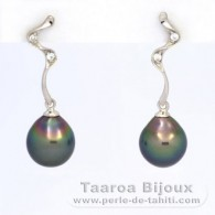 Rhodiated Sterling Silver Earrings and 2 Tahitian Pearls Semi-Baroque B 8.5 mm