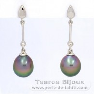 .925 Solid Silver Earrings and 2 Tahitian Pearls Semi-Baroque B 9.1 mm