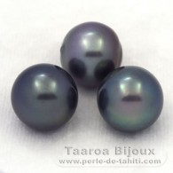 Lot of 3 tahitian Pearls Semi-Baroque C from 11.6 to 11.9 mm