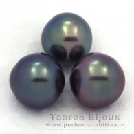 Lot of 3 Tahitian Pearls Semi-Baroque C from 12 to 12.1 mm