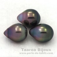 Lot of 3 Tahitian Pearls Semi-Baroque B from 9.3 to 9.5 mm