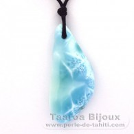 Waxed cotton Necklace and 1 Larimar - 52 x 23 x 8 mm - 14.65 gr