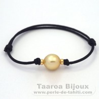 Waxed Cotton Bracelet and 1 Australian Pearl Semi-Baroque C 11 mm