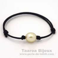 Waxed Cotton Bracelet and 1 Australian Pearl Baroque C 10.8 mm