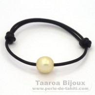 Leather Bracelet and 1 Australian Pearl Semi-Baroque C 11.9 mm