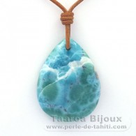 Leather Necklace and 1 Larimar - 49.4 x 37.4 x 7.5 mm - 24.1 gr