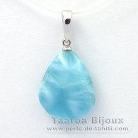 18K Solid White Gold Pendant and 1 Larimar - 17 x 13.3 x 5.5 mm - 1.95 gr