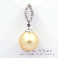 Rhodiated Sterling Silver Pendant and 1 Tahitian Australian Pearl Semi-Baroque B 11.3 mm
