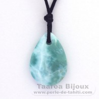 Waxed cotton Necklace and 2 Larimar - 23 x 16 x 5.5 mm - 2.56 gr and 0.6 gr
