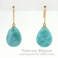 18K solid Gold Earrings and 2 Larimar - 16.5 x 12 x 5.5 mm - 3.44 gr