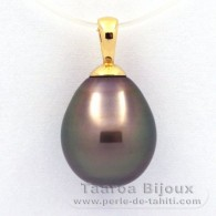 18K solid Gold Pendant and 1 Tahitian Pearl Semi-Baroque B 10.8 mm