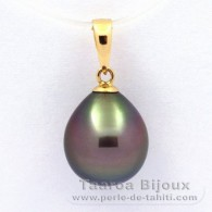 18K solid Gold Pendant and 1 Tahitian Pearl Semi-Baroque A 9.9 mm