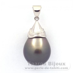 Rhodiated Sterling Silver Pendant and 1 Tahitian Pearl Semi-Baroque B 13.9 mm