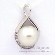 .925 Solid Silver Pendant and 1 tahitian Australian Pearl Semi-Baroque C 11.2 mm