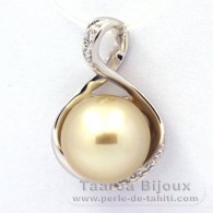 Rhodiated Sterling Silver Pendant and 1 Tahitian Australian Pearl Round C 10.9 mm