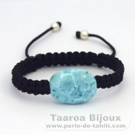 Nylon Bracelet and 1 Larimar - 16 x 21 x 8.1 mm - 4.6 gr