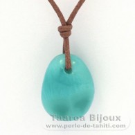 Waxed cotton Necklace and 1 Larimar - 19.5 x 15.5 x 9 mm - 4.3 gr
