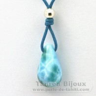 Waxed cotton Necklace and 1 Larimar - 19 x 11 x 10.7 mm - 3 gr