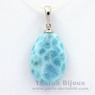 Rhodiated Sterling Silver Pendant and 1 Larimar - 19 x 13.8 x 5.3 mm - 2.56 gr