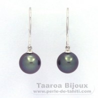 18K Solid White Gold Earrings and 2 Tahitian Pearls Round B 8.8 mm