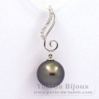 Rhodiated Sterling Silver Pendant and 1 Tahitian Pearl Round C 12.3 mm