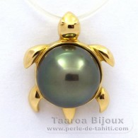 18K solid Gold Pendant and 1 Tahitian Pearl Round B 10.1 mm