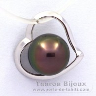 18K Solid White Gold Pendant and 1 Tahitian Pearl Round A 8.5 mm