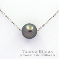 Rhodiated Sterling Silver Necklace and 1 Tahitian Pearl Round C 9.1 mm