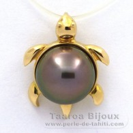 18K solid Gold Pendant and 1 Tahitian Pearl Round B 10 mm