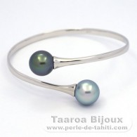 Rhodiated Sterling Silver Bracelet and 2 Tahitian Pearls Round C 11.8 mm