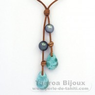 Leather Necklace, 2 Tahitian Pearls and 2 Larimar