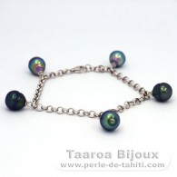Rhodiated Sterling Silver Bracelet and 5 Tahitian Pearls Ringed B from 8.7 to 8.9 mm