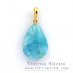 18K Solid Gold Pendant and 1 Larimar - 18 x 13 x 6.8 mm - 2.5 gr